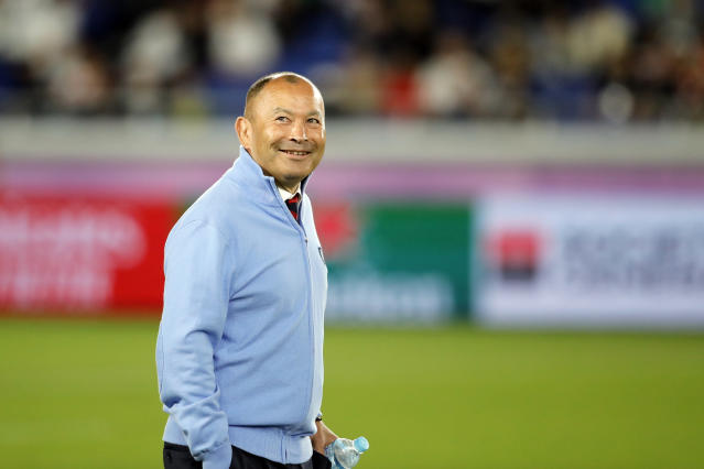 England coach Eddie Jones walks around the field before the Rugby World Cup final at International Yokohama Stadium between England and South Africa in Yokohama, Japan, Saturday, Nov. 2, 2019. (AP Photo/Christophe Ena)