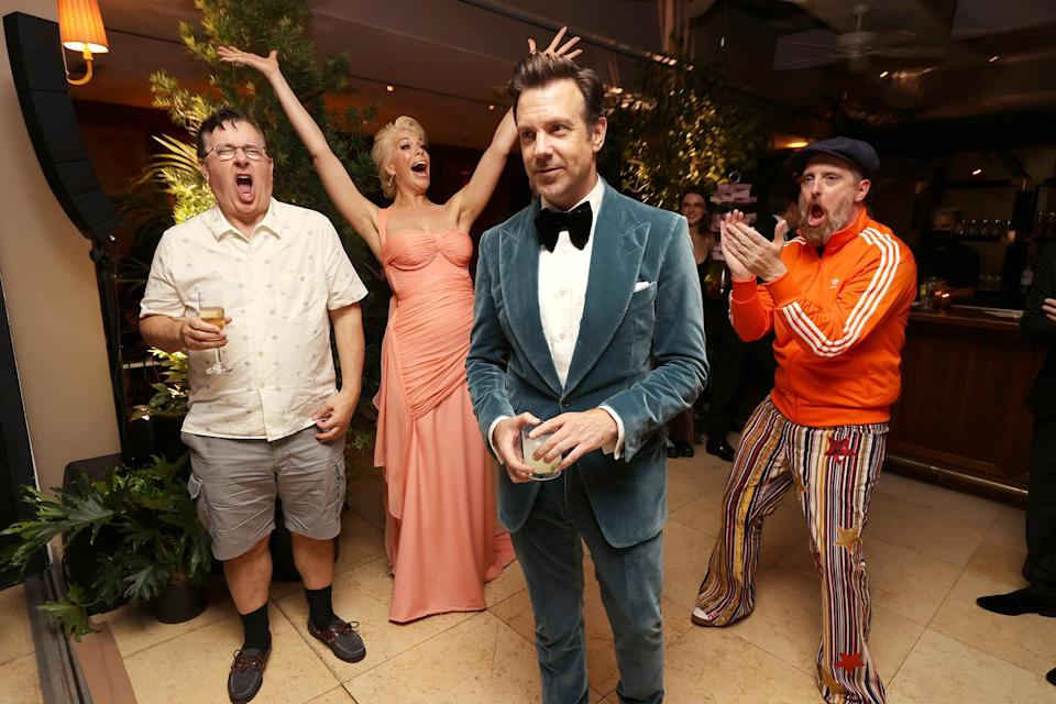 <p>at a party celebrating Apple TV+'s <i>Ted Lasso </i>at Sunset Tower in Los Angeles.</p>