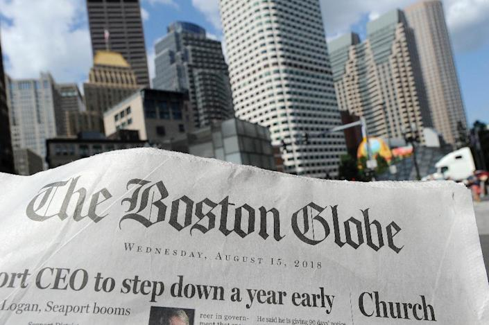 """More than 200 US news organizations have joined a campiagn led by the Boston Globe to counter President Donald Trump's contention that the media is the """"enemy of the people"""" (AFP Photo/Joseph PREZIOSO)"""