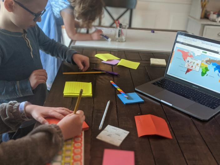 Katie Novak's children are combining fun activities while studying while remote learning. (Photo: Courtesy of Katie Novak)