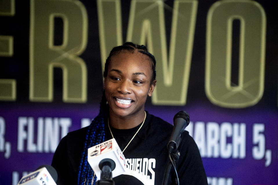 FILE - In this March 3 2021, file photo, boxers Claressa Shields speaks during a news conference in Flint, Mich. Shields did it all in boxing. Two-time Olympic gold medalist. Professional titles in three weight classes. Now she'll try to conquer MMA, starting with her pro debut for Professional Fighters League on Thursday night, June 10, 2021, in Atlantic City, N.J. (Jake May/The Flint Journal via AP, File)
