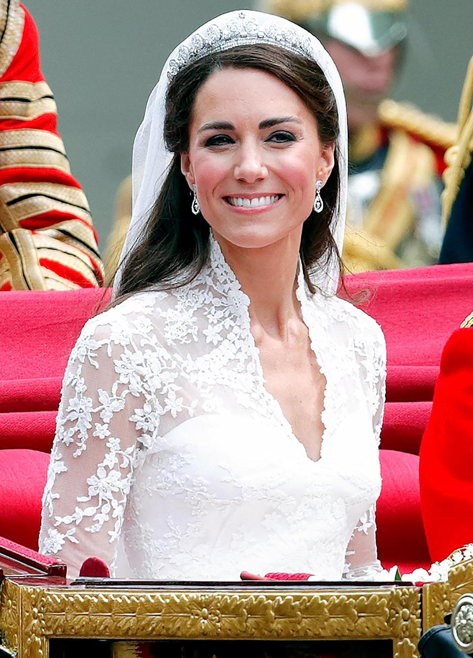 <p>Kate's wedding headpiece has been worn by many royal women, including Princess Anne and the Queen Mother. However, the Queen has never worn the Cartier Halo tiara publicly.</p>