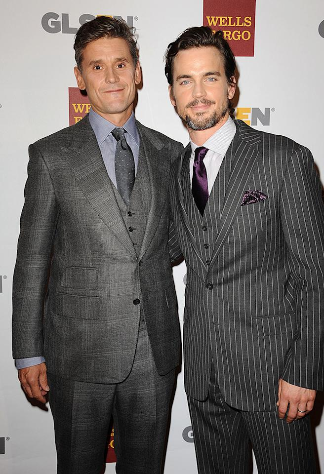 BEVERLY HILLS, CA - OCTOBER 05:  Actor Matt Bomer (R) and Simon Halls attend the 8th annual GLSEN Respect Awards at Beverly Hills Hotel on October 5, 2012 in Beverly Hills, California.  (Photo by Jason LaVeris/FilmMagic)