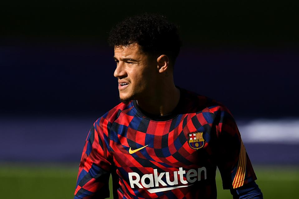 BARCELONA, SPAIN - NOVEMBER 29: Philippe Coutinho of FC Barcelona looks on during the warm up prior to the La Liga Santander match between FC Barcelona and C.A. Osasuna at Camp Nou on November 29, 2020 in Barcelona, Spain. (Photo by David Ramos/Getty Images)