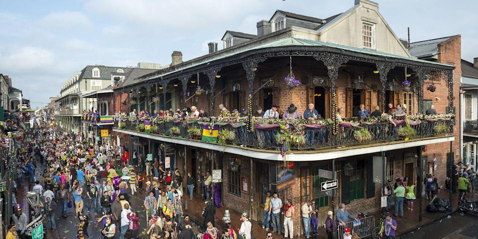 """<p>You'll hear <em>laissez les bon temps rouler </em>(pronounced <em>lay-say le bon tom roo-lay</em>) over and over again at Mardi Gras <a href=""""https://www.countryliving.com/entertaining/"""" rel=""""nofollow noopener"""" target=""""_blank"""" data-ylk=""""slk:celebrations"""" class=""""link rapid-noclick-resp"""">celebrations</a>. It means """"let the good times roll"""" in Cajun French. We can get behind that idea! </p>"""