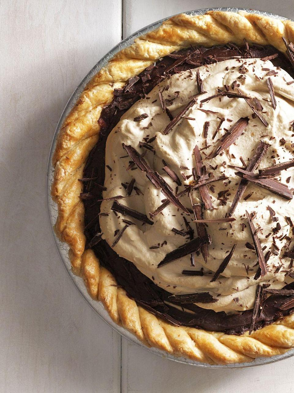 """<p>Buy the crust and this deliciously chocolatey pie recipe doesn't even have to touch an oven.</p><p><em><a href=""""https://www.countryliving.com/food-drinks/recipes/a5618/decadent-chocolate-espresso-pie-recipe-clx0914/"""" rel=""""nofollow noopener"""" target=""""_blank"""" data-ylk=""""slk:Get the recipe from Country Living »"""" class=""""link rapid-noclick-resp"""">Get the recipe from Country Living »</a></em></p><p><strong>RELATED: </strong><a href=""""https://www.goodhousekeeping.com/food-recipes/dessert/g822/pie-recipes/"""" rel=""""nofollow noopener"""" target=""""_blank"""" data-ylk=""""slk:35 Delicious Pie Recipes Anyone Can Make"""" class=""""link rapid-noclick-resp"""">35 Delicious Pie Recipes Anyone Can Make</a><br></p>"""