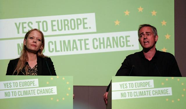Green Party co-leaders Sian Berry and Jonathan Bartley deliver their speech during the Green Party Spring conference in June 2019 (Photo by Ian Forsyth/Getty Images)