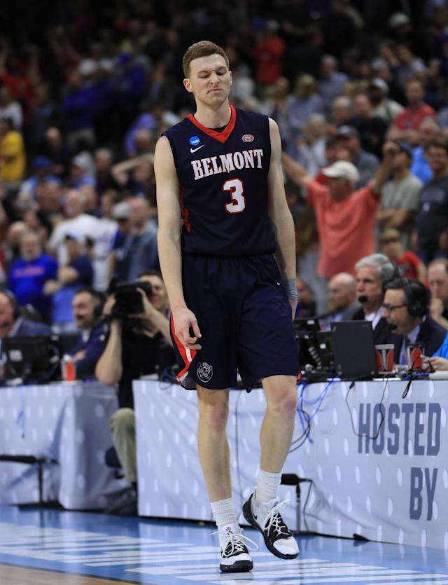 <p>Dylan Windler #3 of the Belmont Bruins reacts after missing the final shot of the game for a 79-77 loss against the Maryland Terrapins during the first round of the 2019 NCAA Men's Basketball Tournament at VyStar Jacksonville Veterans Memorial Arena on March 21, 2019 in Jacksonville, Florida. (Mike Ehrmann/Getty Images) </p>