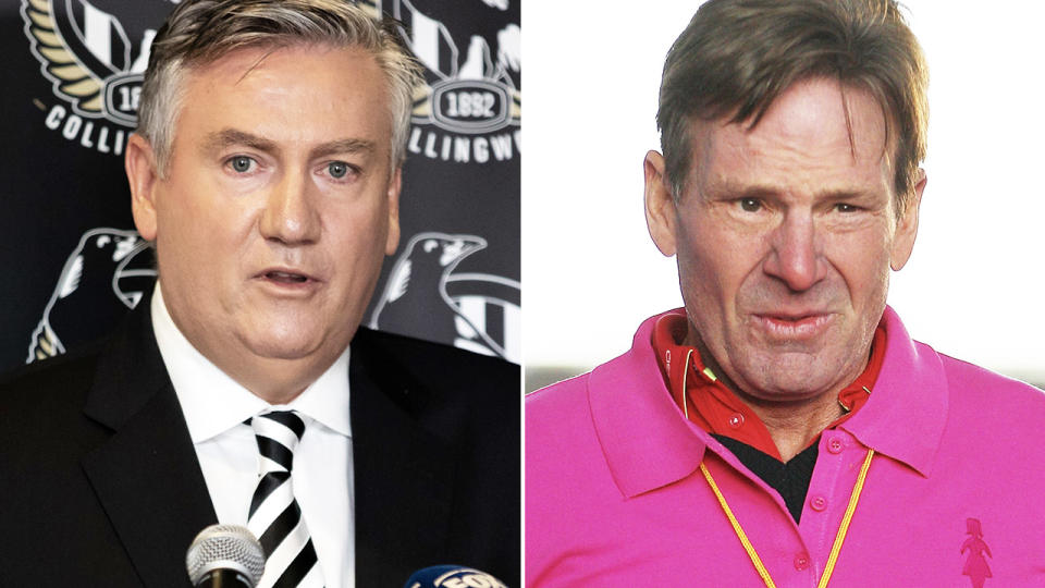Eddie McGuire, pictured here announcing his resignation as Collingwood boss.
