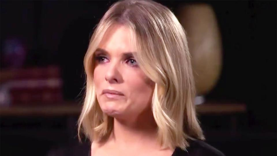 Pictured here, Erin Molan chokes back tears in a 60 Minutes interview.