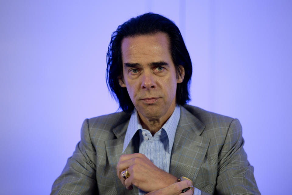 Australian rock musician Nick Cave attends a press conference to promote his concert, in Mexico City, Monday, Oct. 1, 2018. Cave and the Bad Seeds will perform in the capital's WTC Pepsi Center on Tuesday. (AP Photo/Eduardo Verdugo)
