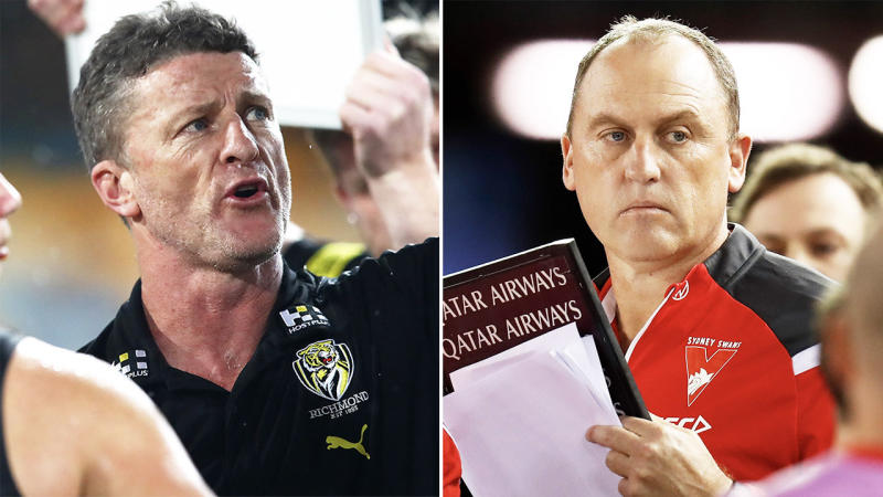 """Swans coach John Longmire (pictured right) has called for AFL coaches to avoid """"finger pointing"""" after his Richmond counterpart Damien Hardwick (pictured left) had a crack at the Swans on the weekend. (Getty Images)"""