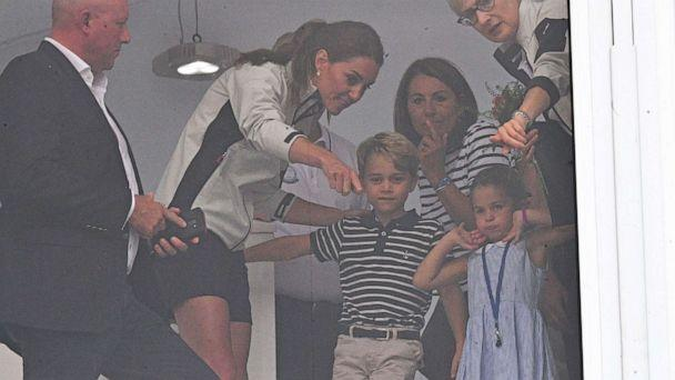 PHOTO: Catherine Duchess of Cambridge, Prince George and Princess Charlotteat the King's Cup Sailing Regatta, Cowes, Isle of Wight, August 8, 2019. (Tim Rooke/REX via Shutterstock)