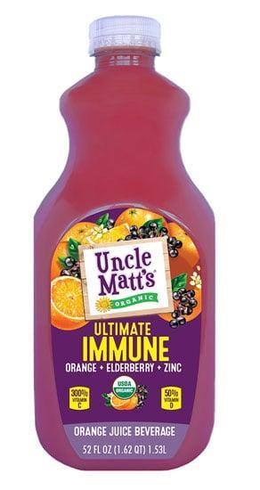 <p><span>Uncle Matt's Ultimate Immune Juice</span> ($8) contains the trifecta of immune-supporting nutrients: vitamin C, vitamin D, and zinc. Specifically, one serving contains 300 percent of your daily value of vitamin C, 50 percent of your vitamin D, and 25 percent of your zinc. And for extra immune support, this juice is blended with organic elderberry juice and contains natural antioxidants normally found in orange juice. <br></p>