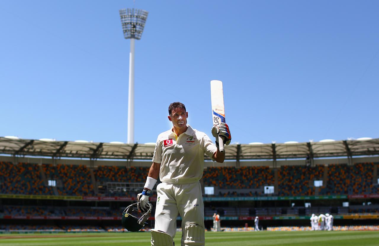BRISBANE, AUSTRALIA - NOVEMBER 13:  Michael Hussey of Australia leaves the ground after being dismissed for 100 day five of the First Test match between Australia and South Africa at The Gabba on November 13, 2012 in Brisbane, Australia.  (Photo by Ryan Pierse/Getty Images)