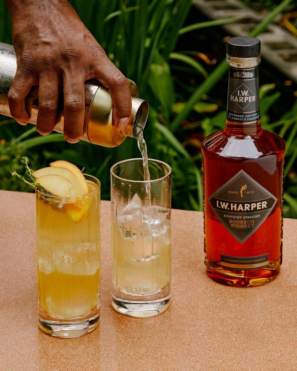 <p>Look no further than your kitchen garden for creating the thyme syrup that brings an aromatic sweetness to this delightful drink.</p><p><strong>Ingredients: </strong></p><p>1 1/2 ounces I.W. Harper bourbon (or other Kentucky bourbon)</p><p>1/2 ounce each: peach liqueur, lemon juice, and thyme syrup (recipe follows) </p><p>club soda</p><p>peach slices and thyme springs, for garnish</p><p><strong>Directions:</strong></p><ol><li>Make the thyme syrup: Boil one cup of water in a saucepan, adding 12 sprigs of thyme and one cup of sugar, stirring until dissolved. Take off heat and allow to cool for 30 minutes. Fine-strain into an air-tight container.</li><li>Combine the bourbon, peach liqueur, lemon juice, and thyme syrup into a shaker tin and shake.</li><li>Double-strain mixture into an ice-filled highball glass, topping with club soda and garnishing with peach slices and thyme sprigs.</li></ol>