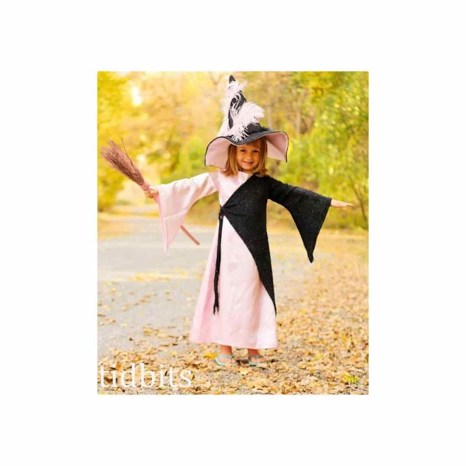 """<p>Little kids will get a kick out of this cross between scary and sweet. While <a href=""""https://www.tidbits-cami.com/witchy/"""" rel=""""nofollow noopener"""" target=""""_blank"""" data-ylk=""""slk:this version"""" class=""""link rapid-noclick-resp"""">this version</a> was sewn by someone who knows how to wield a machine, you could create a similar look by dressing in a pink dress and adding a black cape. To make the hat, line a store-bought black one with pink felt, then add pink feathers (hot glue works well for this!). </p><p><a class=""""link rapid-noclick-resp"""" href=""""https://www.amazon.com/Arshiner-Cotton-Sleeve-Twirly-Skater/dp/B01N3Q2X8Q/?tag=syn-yahoo-20&ascsubtag=%5Bartid%7C10072.g.33534666%5Bsrc%7Cyahoo-us"""" rel=""""nofollow noopener"""" target=""""_blank"""" data-ylk=""""slk:SHOP PINK DRESS"""">SHOP PINK DRESS</a></p><p><a class=""""link rapid-noclick-resp"""" href=""""https://www.amazon.com/VGLOOK-Christmas-Halloween-Cosplay-Costumes/dp/B0732N7MV8?tag=syn-yahoo-20&ascsubtag=%5Bartid%7C10072.g.33534666%5Bsrc%7Cyahoo-us"""" rel=""""nofollow noopener"""" target=""""_blank"""" data-ylk=""""slk:SHOP CAPE"""">SHOP CAPE</a></p><p><a class=""""link rapid-noclick-resp"""" href=""""https://www.amazon.com/Amscan-Classic-Childrens-Witch-Black/dp/B00UKI3V76/?tag=syn-yahoo-20&ascsubtag=%5Bartid%7C10072.g.33534666%5Bsrc%7Cyahoo-us"""" rel=""""nofollow noopener"""" target=""""_blank"""" data-ylk=""""slk:SHOP HAT"""">SHOP HAT</a></p><p><a class=""""link rapid-noclick-resp"""" href=""""https://www.amazon.com/Darice-Stiff-inches-5-Pack-FLT-0339/dp/B00KNATN8C?tag=syn-yahoo-20&ascsubtag=%5Bartid%7C10072.g.33534666%5Bsrc%7Cyahoo-us"""" rel=""""nofollow noopener"""" target=""""_blank"""" data-ylk=""""slk:SHOP FELT"""">SHOP FELT</a></p><p><a class=""""link rapid-noclick-resp"""" href=""""https://www.amazon.com/TommoT-Natural-Feathers-Clothing-Decoration/dp/B07PMYZBSZ?tag=syn-yahoo-20&ascsubtag=%5Bartid%7C10072.g.33534666%5Bsrc%7Cyahoo-us"""" rel=""""nofollow noopener"""" target=""""_blank"""" data-ylk=""""slk:SHOP FEATHERS"""">SHOP FEATHERS</a></p>"""