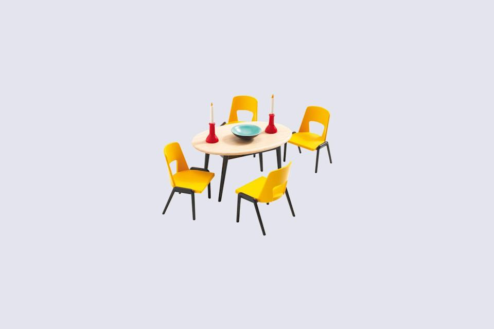 "<p>If Memphis Group inspired spaces are more your speed, then consider this eye-catching mini dining room kit. Complete with yellow plastic molded chairs, red candlesticks, and a blue faux ceramic bowl, this colorful tiny dining room set is every bit as bold as it is charming.</p> <p><strong><em>Shop Now:</em></strong> <em>Djeco ""The Dining Room"", $15, </em><a href=""https://en.smallable.com/the-dining-room-djeco-30358.html"" rel=""nofollow noopener"" target=""_blank"" data-ylk=""slk:en.smallable.com"" class=""link rapid-noclick-resp""><em>en.smallable.com</em></a><em>. </em></p>"