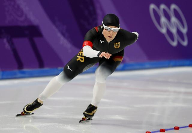 Speed Skating - Pyeongchang 2018 Winter Olympics – Women's 3000m competition finals – Gangneung Oval - Gangneung, South Korea – February 10, 2018 - Claudia Pechstein of Germany competes. REUTERS/Phil Noble