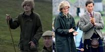 <p>Lady Diana Spencer was a country girl at heart, so it's no surprise that she had a number of Barbour wax jackets in her closet. <em>The Crown </em>depicts Diana suited up in the posh English outwear that she wore in 1985 on a visit to the Western Isles. </p>