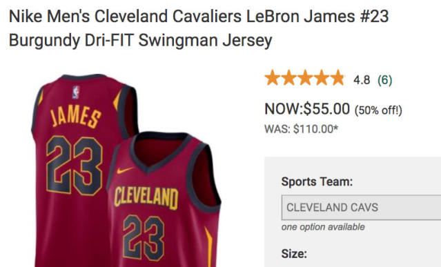 DicksSportingGoods.com is selling all its Cleveland-themed LeBron James apparel for half price.