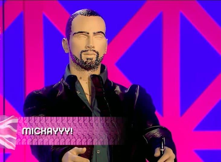 A dummy version of Danny Dyer on the Drag Race UK panel