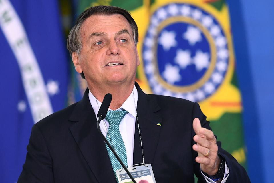 Brazilian President Jair Bolsonaro delivers a speech during the announcement of sponsorship of olympic sports team by the state bank Caixa Economica Federal at Planalto Palace on June 1, 2021. - Brazil's President Jair Bolsonaro said on Tuesday that, if it depends on his government, his country will host the 2021 Copa America, in a bid to reduce uncertainty over the hosting of the world's oldest national team tournament. (Photo by EVARISTO SA / AFP) (Photo by EVARISTO SA/AFP via Getty Images)