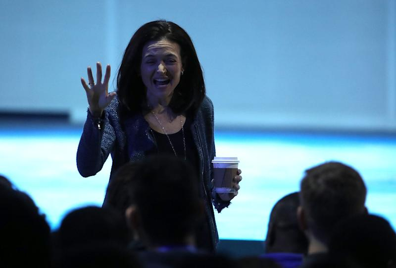 Facebook COO Sheryl Sandberg speaks during the F8 Facebook Developers conference on May 1, 2018 in San Jose, California. (Photo by Justin Sullivan/Getty Images)