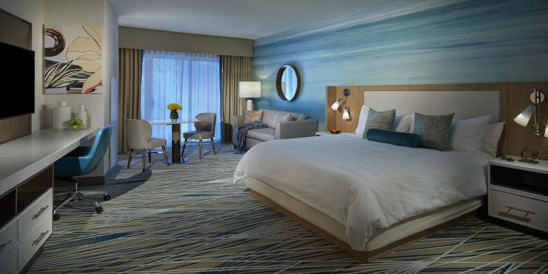 Fit for a rockstar: The beds feature Egyptian-cotton sheets and comforters with a subtle guitar pattern stitched right in. (Photo: Courtesy of The Guitar Hotel at Hard Rock Hotel & Casino Hollywood)