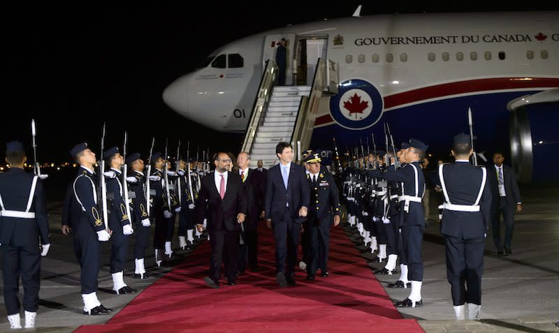 <p>Prime Minister Justin Trudeau arrives in Lima for the eighth Summit of the Americas. Photo from The Canadian Press. </p>