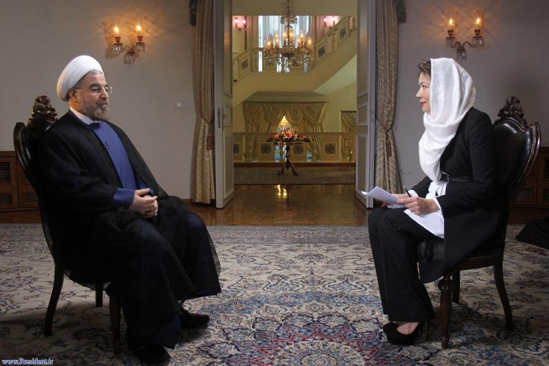 "Iranian President Hassan Rouhani speaks during an interview with Ann Curry (R) from the U.S. television network NBC in Tehran, in this picture taken September 18, 2013, and provided by the Iranian Presidency. Rouhani said in the television interview with NBC News on Wednesday that his government would never develop nuclear weapons and that he had ""complete authority"" to negotiate a nuclear deal with the West. REUTERS/President.ir/Handout via Reuters (IRAN - Tags: POLITICS MEDIA) ATTENTION EDITORS � THIS IMAGE WAS PROVIDED BY A THIRD PARTY. NO SALES. NO ARCHIVES. FOR EDITORIAL USE ONLY. NOT FOR SALE FOR MARKETING OR ADVERTISING CAMPAIGNS. THIS PICTURE IS DISTRIBUTED EXACTLY AS RECEIVED BY REUTERS, AS A SERVICE TO CLIENTS"