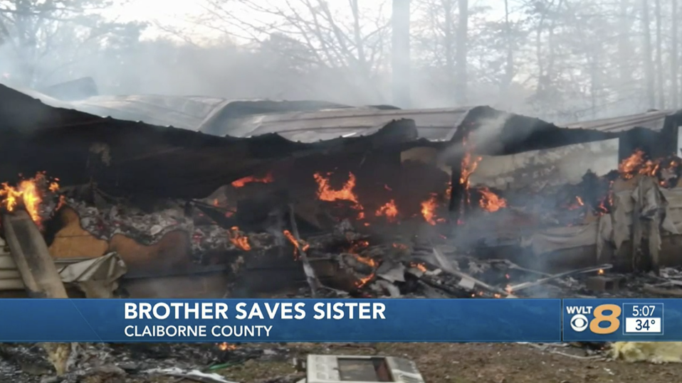 While no one was hurt, the Davidsons' home was completely destroyed. Source: WVLT