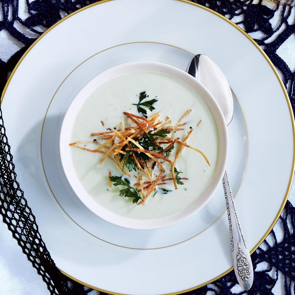 """You can't talk about leeks without talking about soup. <a href=""""https://www.epicurious.com/recipes/food/views/leek-soup-with-shoestring-potatoes-and-fried-herbs-51252490?mbid=synd_yahoo_rss"""" rel=""""nofollow noopener"""" target=""""_blank"""" data-ylk=""""slk:See recipe."""" class=""""link rapid-noclick-resp"""">See recipe.</a>"""