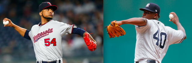 Ervin Santana and Luis Severino square off in the AL wild-card game. (Photos via AP)