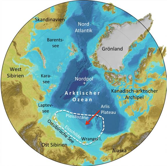 A map of the Arctic showing the location of the thick East Siberia ice sheet.