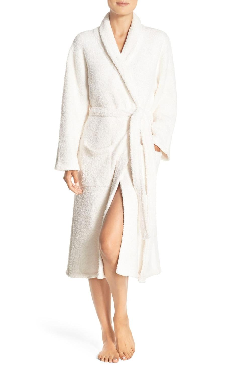 "<h3><a href=""https://shop.nordstrom.com/s/barefoot-dreams-cozychic-robe-nordstrom-online-exclusive/2833517"" rel=""nofollow noopener"" target=""_blank"" data-ylk=""slk:Barefoot Dreams CozyChic Robe"" class=""link rapid-noclick-resp"">Barefoot Dreams CozyChic Robe</a></h3> <br>If the brand name doesn't say it all — this machine-washable robe is crafted for lounging longevity from a super soft and cushy microfiber that won't shrink or pill.<br><br>One reviewer calls it the, ""Most comfortable robe ever,"" declaring: ""I'm so glad I bought this robe. It's incredibly soft and cozy. It is thick fabric without being heavy or hot. Totally a year-round robe.""<br><br><strong>BAREFOOT DREAMS®</strong> CozyChic Robe, $, available at <a href=""https://go.skimresources.com/?id=30283X879131&url=https%3A%2F%2Fshop.nordstrom.com%2Fs%2Fbarefoot-dreams-cozychic-robe-nordstrom-online-exclusive%2F2833517"" rel=""nofollow noopener"" target=""_blank"" data-ylk=""slk:Nordstrom"" class=""link rapid-noclick-resp"">Nordstrom</a><br><br><br>"