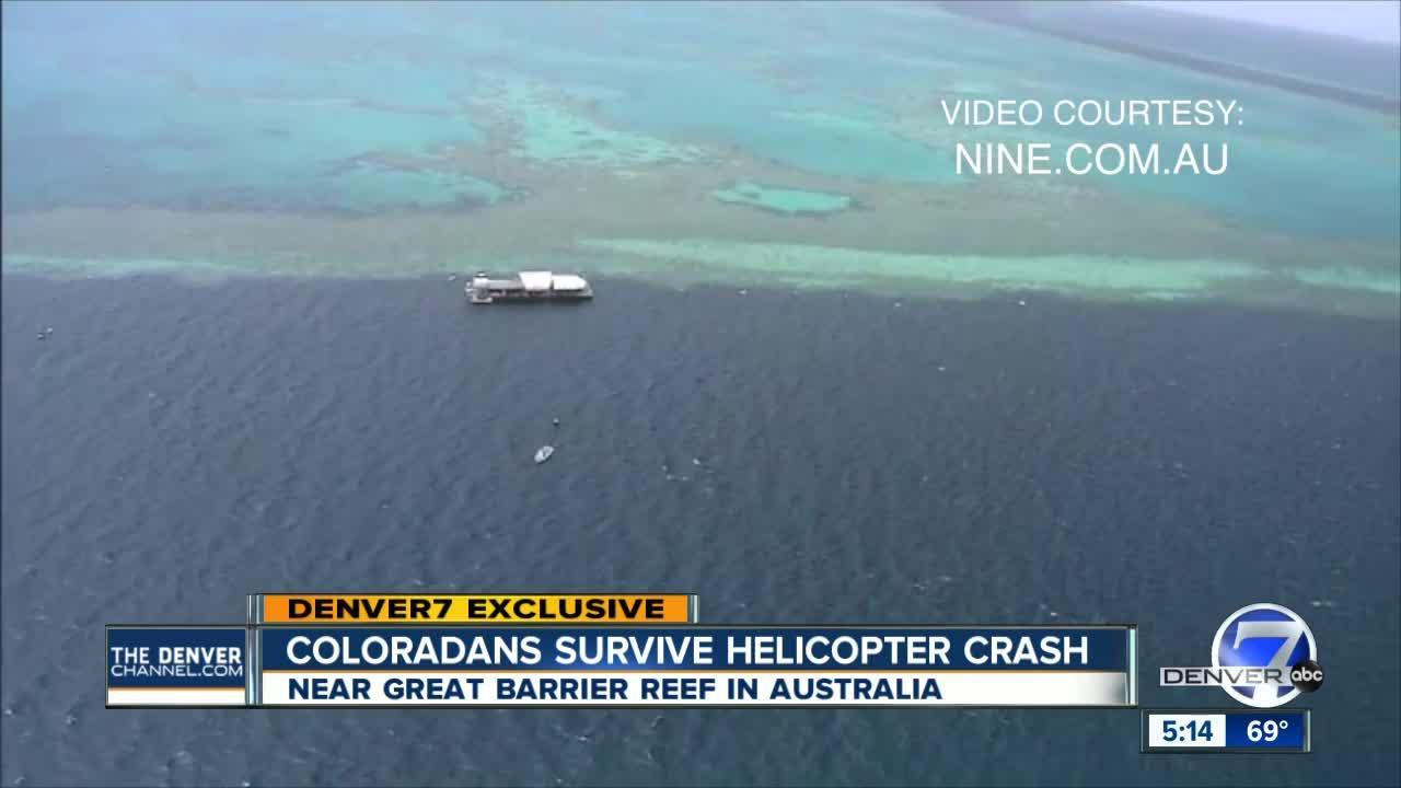 A helicopter carrying American tourists crashed at a coral-viewing site on Australia's Great Barrier Reef, killing two passengers from Hawaii and injuring two others from Colorado, police said.