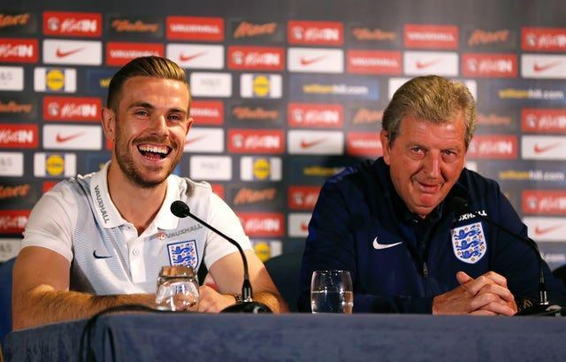 Jordan Henderson (left) and former England manager Roy Hodgson during a press conference