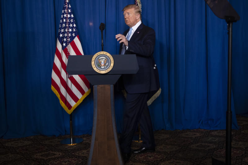President Donald Trump arrives to deliver remarks on Iran, at his Mar-a-Lago property, Friday, Jan. 3, 2020, in Palm Beach, Fla. (AP Photo/ Evan Vucci)