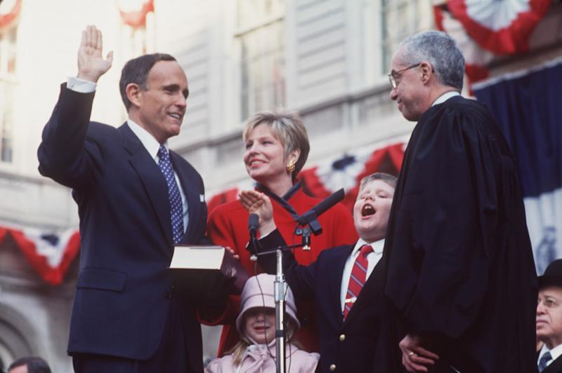 Rudolph Giuliani is sworn in as the 107th Mayor of New York City, January 2, 1994.