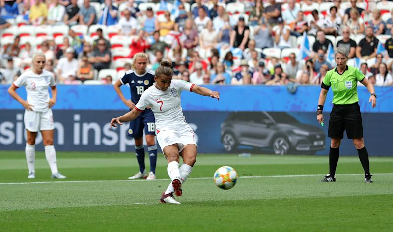 England's Nikita Parris scores her side's first goal of the game during the FIFA Women's World Cup, Group D match at the Stade de Nice. (Photo by Richard Sellers/PA Images via Getty Images)