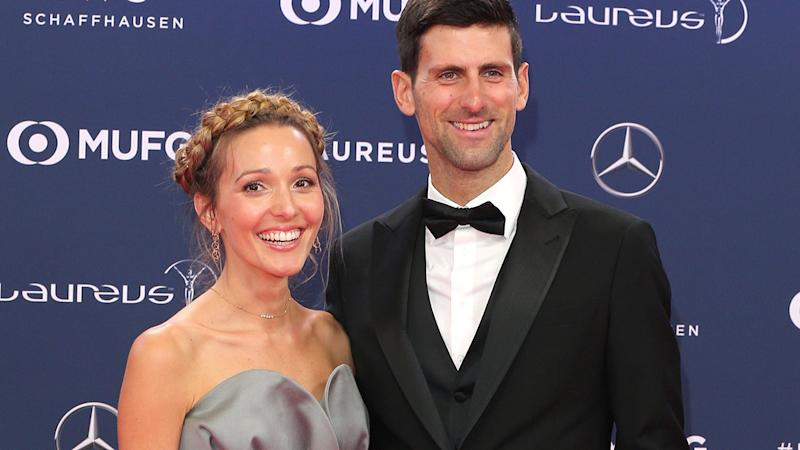 Jelena and Novak Djokovic in February at the Laureus Sport Awards. (Photo by Gisela Schober/Getty Images)
