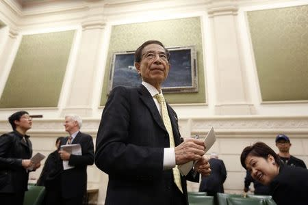 Martin Lee, the founding chairman of Hong Kong's Democratic Party, waits to testify before the Commons foreign affairs committee on Parliament Hill in Ottawa March 10, 2015. REUTERS/Chris Wattie (CANADA - Tags: POLITICS)
