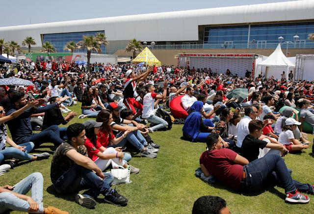 Soccer Football - World Cup - Group B - Portugal vs Morocco - Casablanca, Morocco - June 20, 2018. Fans watch the match during a public screening in Casablanca. REUTERS/Youssef Boudlal