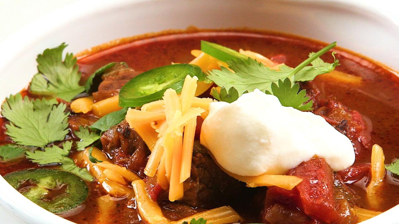 "<p>Using the flavor concentrating magic of the <a href=""https://www.myrecipes.com/convenience/instant-pot-recipes"">Instant Pot</a>, we reach next-day level of delicious chili deliciousness in under an hour with this bold and meaty Beef and Bean Chili. Although optional, simmering beef bones in the chili makes it extra rich and we'd highly recommend trying it. If you ask your butcher for some spare beef bones when you go to pick up stew meat, they will likely be more than happy to help you out. We like to serve such a robustly savory chili with bright toppers like sour cream, fresh cilantro, fresh jalapeño, and a sprinkle of sharp cheddar, but feel free to dress your bowl up however you like. Finely chopped onion and some avocado wedges would also be welcome here. </p> <p><a href=""https://www.myrecipes.com/recipe/instant-pot-beef-and-bean-chili"">Instant Pot Beef and Bean Chili Recipe</a></p>"