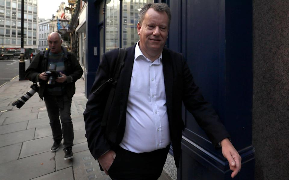 David Frost in London this morning - AP
