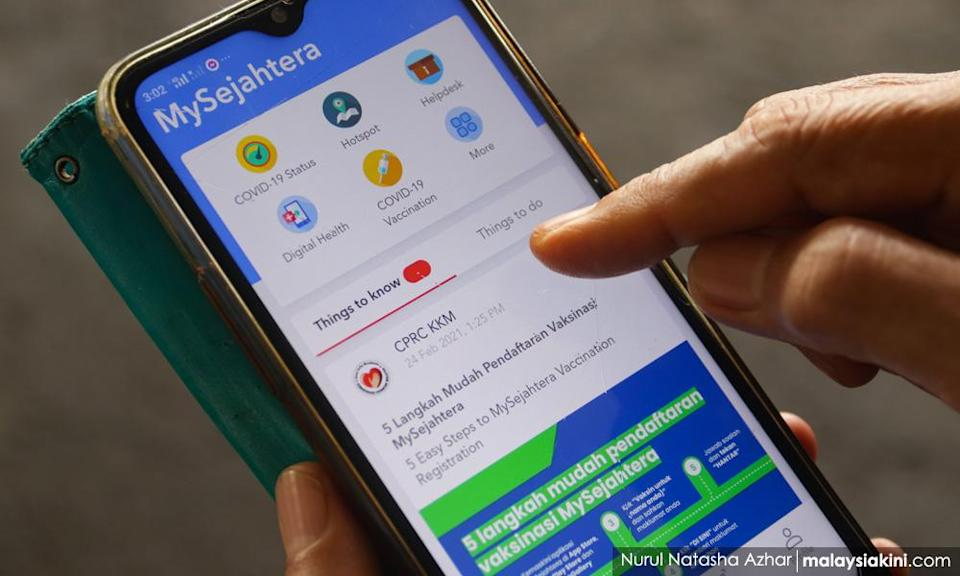 The MySejahtera mobile app can be used by Malaysians for vaccination registration