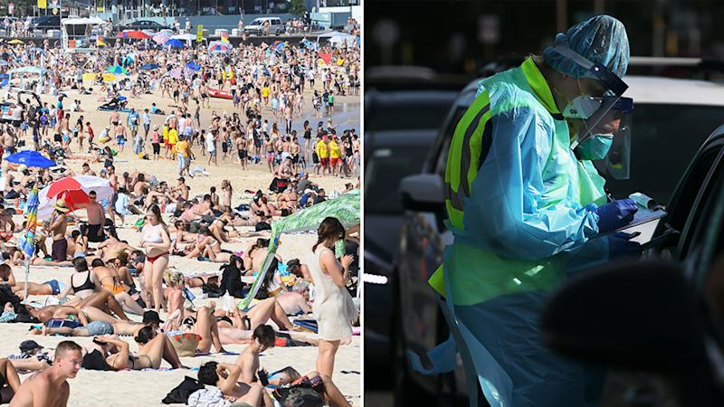 A photo of a packed beach in Sydney and on the right is a health worker at the Bondi Covid-19 testing clinic.