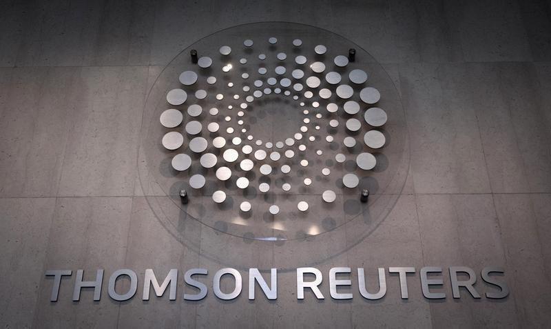 The Thomson Reuters logo inside lobby of company building in Times Square, New York