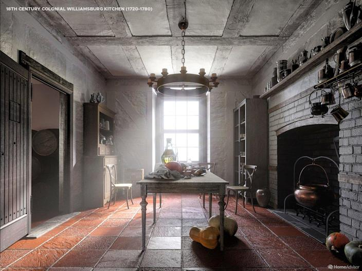 HomeAdvisor's rendering of a 18th-Century Colonial Williamsburg Kitchen.